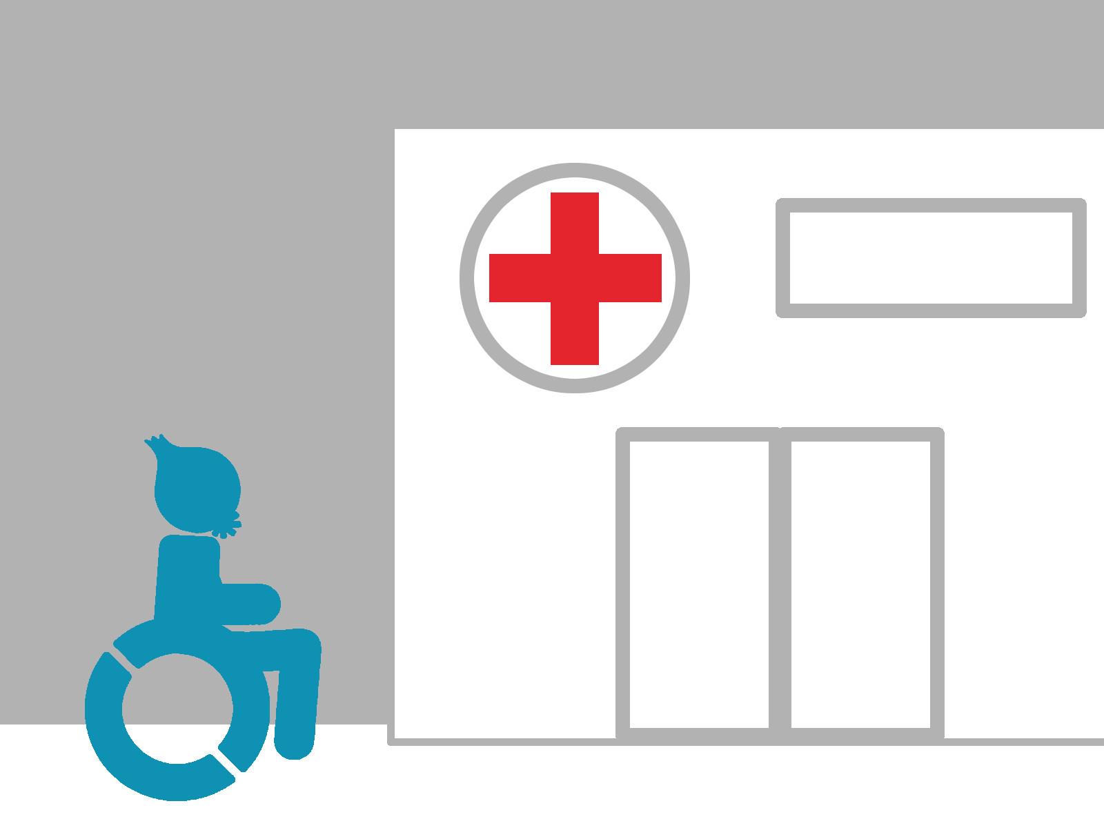 Das Maskottchen mit seinem Rollstuhl vor einem Krankenhaus