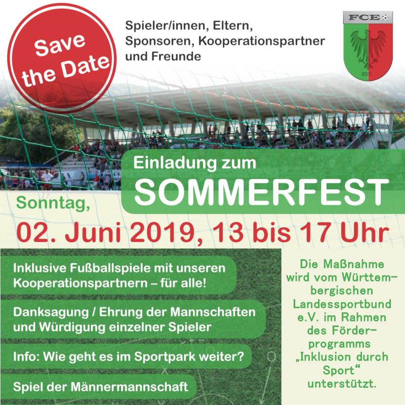 Einladung zum Sommerfest des FC Esslingen e.V. am 02.06.2019 von 13 bis 17 Uhr
