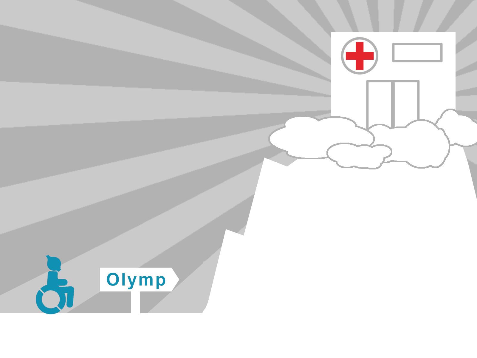 Der Olymp mit einem Krankenhaus auf dem Gipfel.