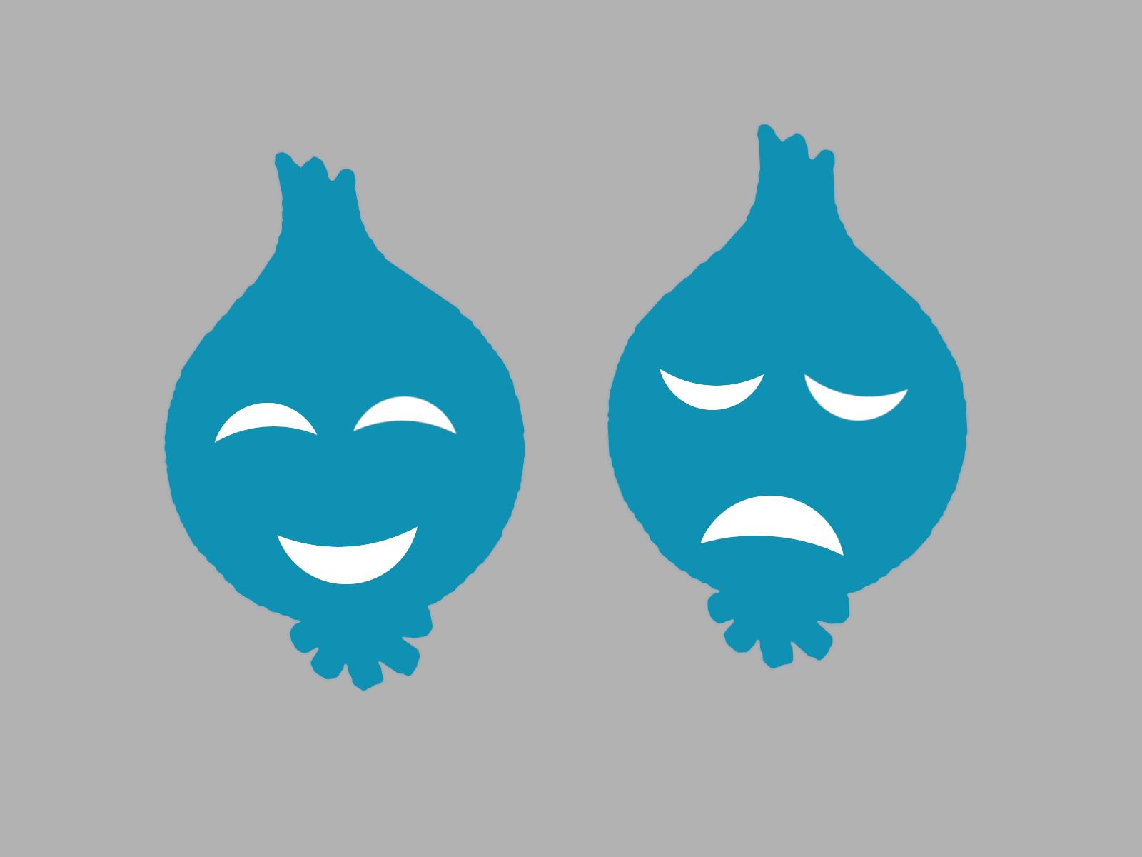 Lachende und weinende Zwiebelkopfmaske