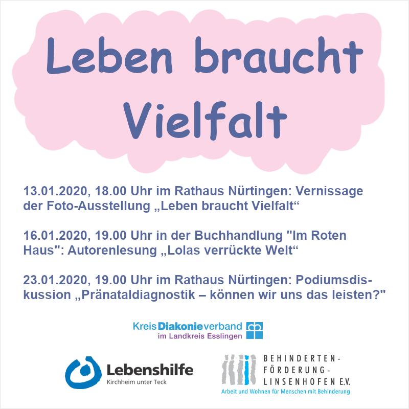 """Werbeplakat für die Veranstaltungsreihe """"Leben braucht Vielfalt"""""""