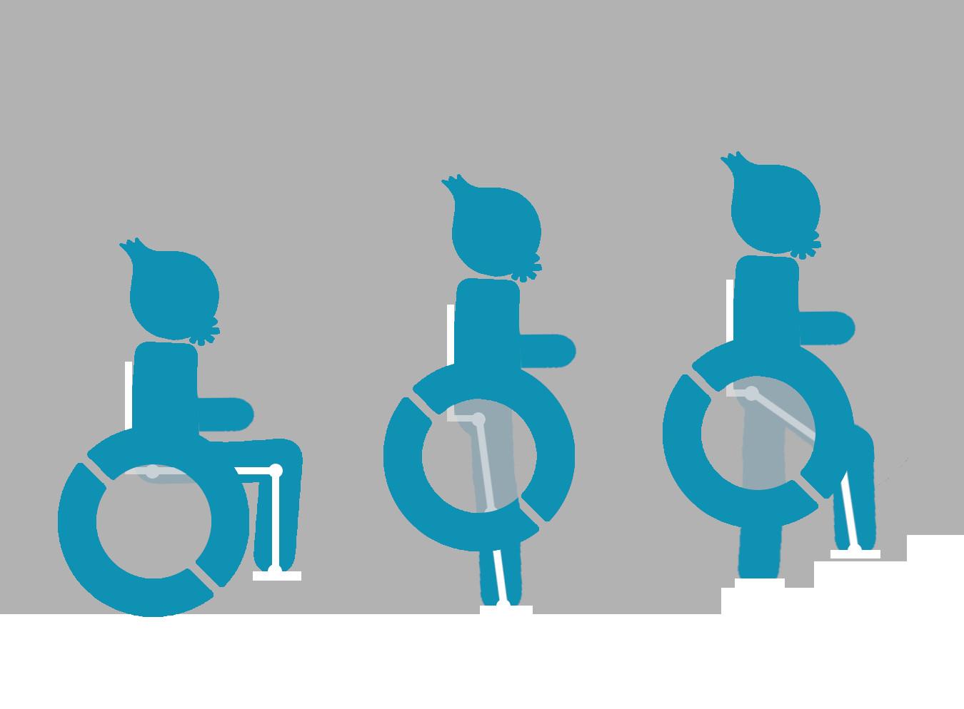 Rollstuhlfahrer, dessen Rollstuhl sich in ein Exoskelett verwandelt.