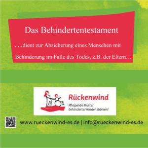 """Werbeplakat für die Informationsveranstaltung """"Das Behindertentestaments"""" des Vereins Rückenwind"""