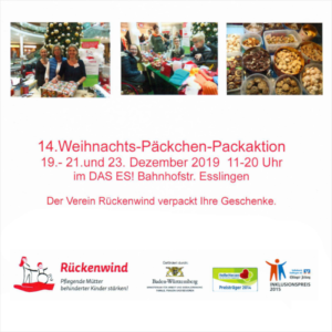Werbeplakat für die Weihnachts-Päckchen-Packaktion des Vereins Rückenwind