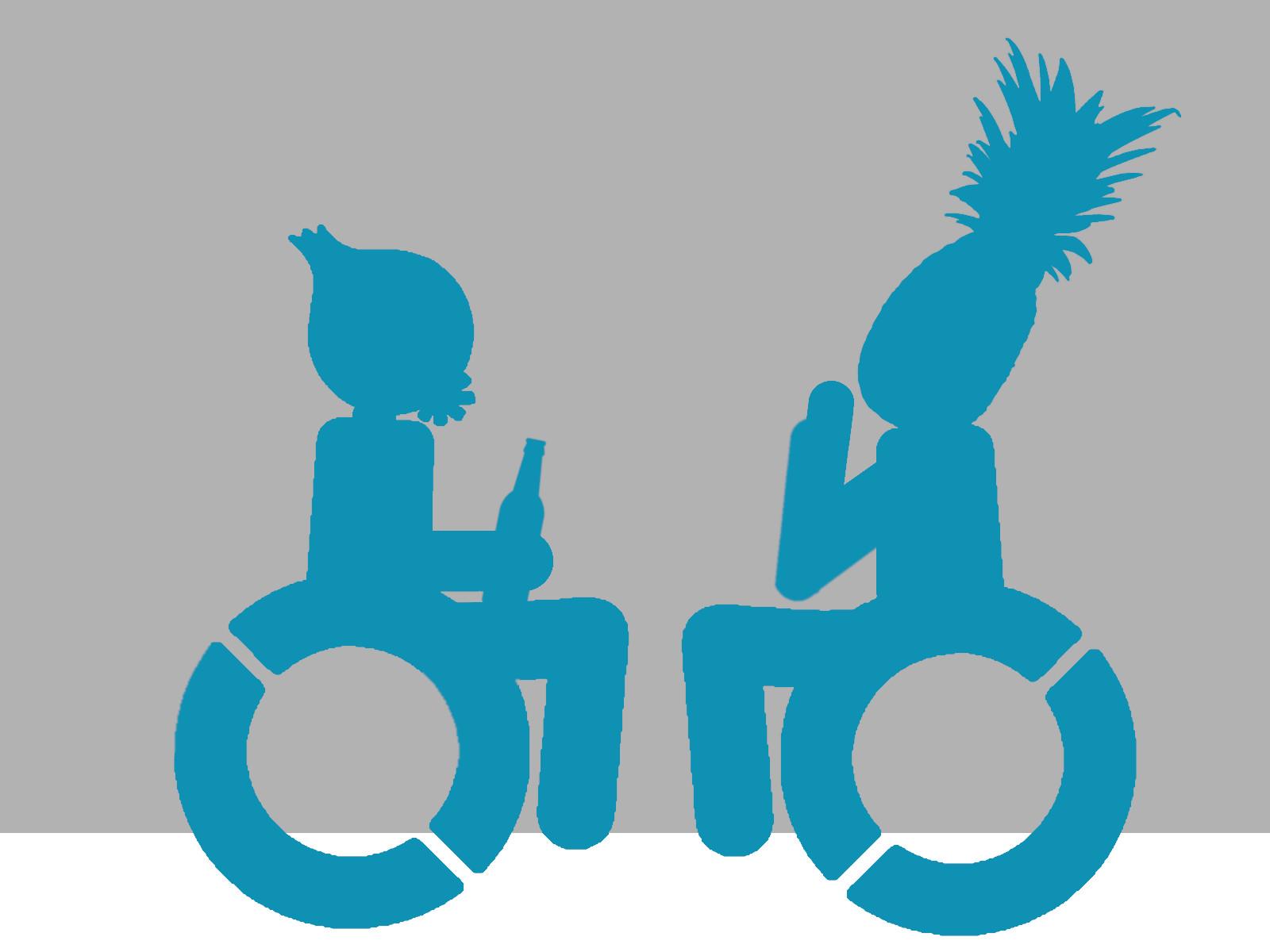 Maskottchen trifft andere Rollstuhlfahrerin