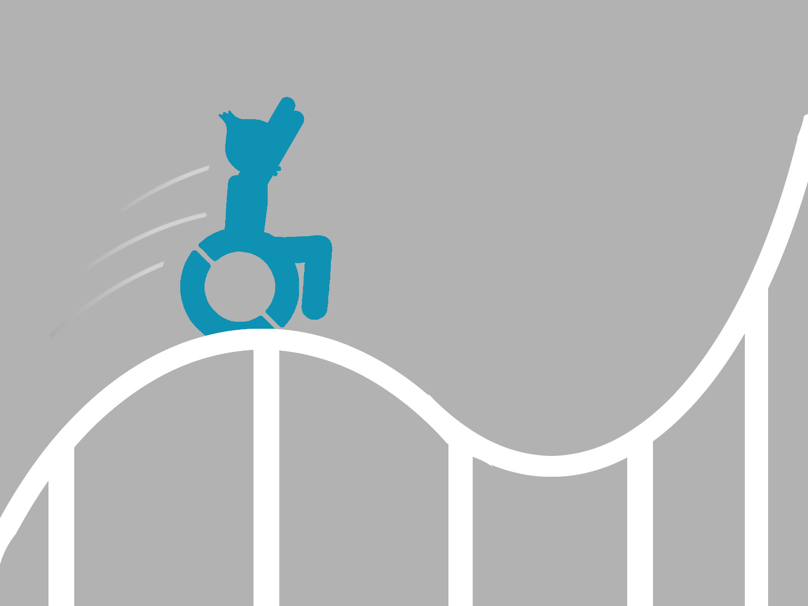 Das Maskottchen mit seinem Rollstuhl auf der Achterbahn