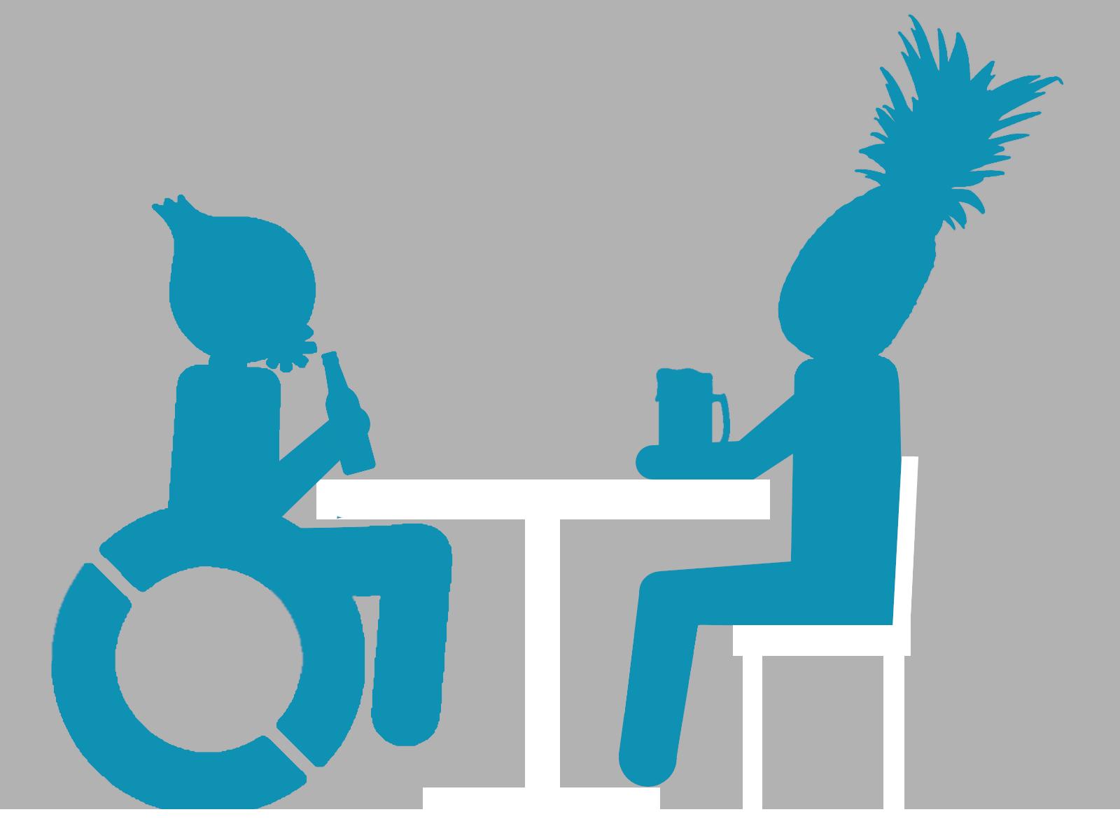 Clipart von zwei Personen, die an einem Tisch sitzen und Bier trinken. Eine der Personen sitzt im Rollstuhl.