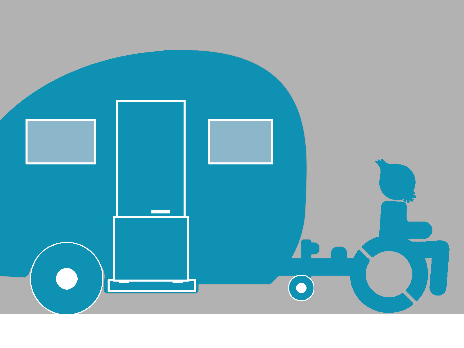 Maskottchen welches mit seinem Rollstuhl einen Wohnwagen zieht