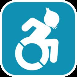 Maskottchen: Rollstuhlfahrer mit Zwiebelkopf im Clipart-Stil